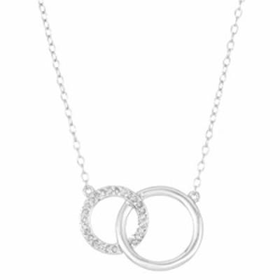 スターリングシルバー 0.0125カラットダイヤモンド インターロッキング サークルペンダント 18インチチェーン