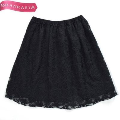BEAUTY&YOUTH ビューティ&ユース 花柄 刺繍装飾 ひざ丈 ギャザースカート ブラック スカート 中古 19hs43