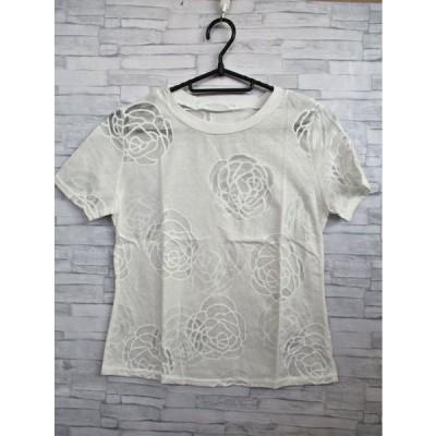 婦人 バラ柄カットソー(白)■F-005