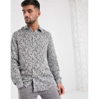 トップマン メンズ シャツ トップス Topman Premium shirt in zebra print Ecru