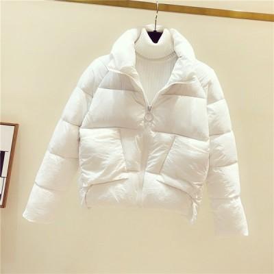 中綿コート レディース ダウン風ジャケット 無地 厚手 ショート丈 シンプル 立ち襟 防寒 あったか 暖かい きれいめ アウター おしゃれ