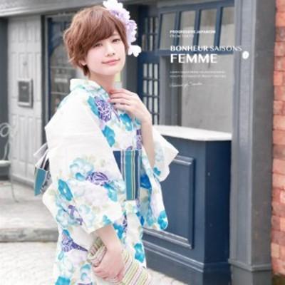 浴衣セット レディース レトロ 浴衣セット 大人 3点セット 白系 ホワイト 水色 青 椿 つばき 鞠 ラメ 綿麻 半幅帯 女性 ボヌールセゾン