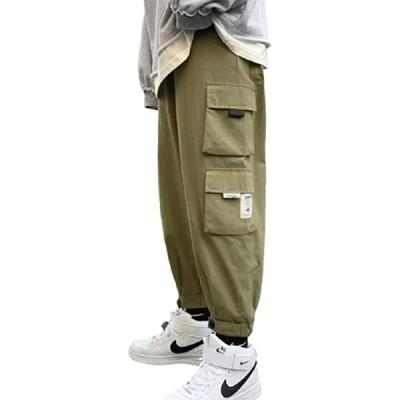 ジョガーパンツ メンズ サイドポケット ウエスト ゴム カーゴパンツ 無地(アーミーグリーン, XL)