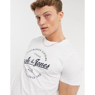 ジャック アンド ジョーンズ メンズ シャツ トップス Jack & Jones Originals round logo t-shirt in white