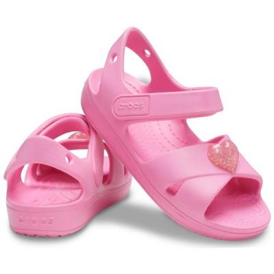 [クロックス公式] サンダル クラシック クロス ストラップ サンダル PS ガールズ、キッズ、子供用、女の子 ピンク 15.5cm,16.5cm,17.5cm,18.5cm Kids' Classic Cross-Strap Sandal 30%OFF セール アウトレット