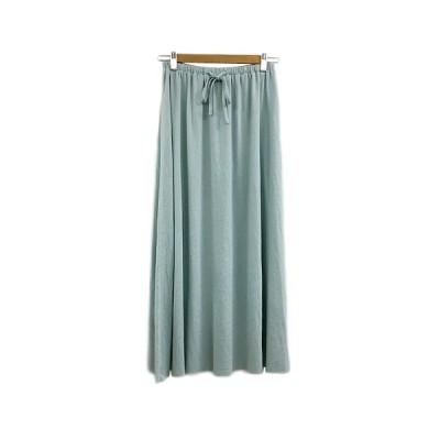 【中古】アバハウス ABAHOUSE myserf abahouse スカート フレア ロング ウエストゴム 水色 ライトブルー レディース 【ベクトル 古着】