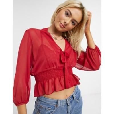 エイソス レディース シャツ トップス ASOS DESIGN long sleeve sheer top with shirred waist and tie detail in berry Berry