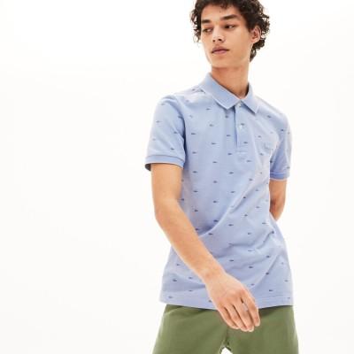 ラコステ LACOSTE スリムフィット ワニシルエット総柄デザインポロシャツ (半袖) (パープル)