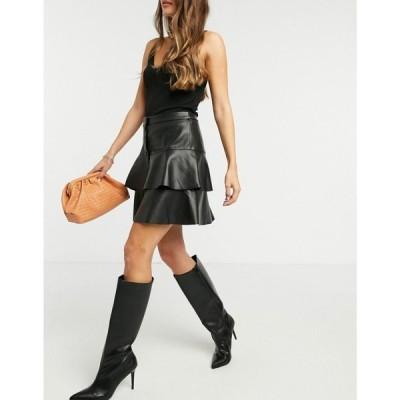 ヴェロモーダ Vero Moda レディース ミニスカート ティアードスカート スカート Tiered Leather Look Mini Skirt In Black ブラック