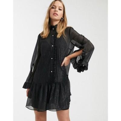 リバーアイランド River Island レディース ビーチウェア ワンピース・ドレス 水着・ビーチウェア smock dress with frills in black ブラック