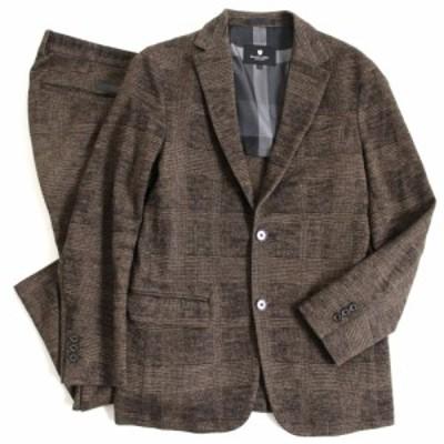 美品▽ブラックレーベル クレストブリッジ チェック柄 ロゴパッチ付き シングルスーツ ブラウン S ハンガー・ガーメント付き