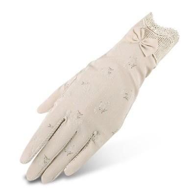 手袋 レディース グローブ スマホ対応 夏 UVカット UVケア 滑り止め 日焼け止め 紫外線対策 レース 五本指 冷感 運転