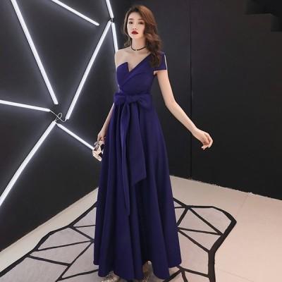 ロングドレス ワンショルダー 宴会ドレス イブニングドレス キレイめ 30代 40代 パーティードレス 結婚式 二次会 お呼ばれ