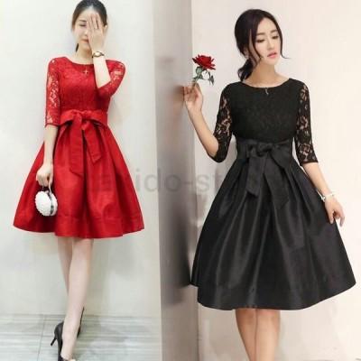 スプリング 春夏 大人 かわいい 刺繍 レース 切り替え リボン ワンピース ドレス 結婚式 パーティー 黒 赤