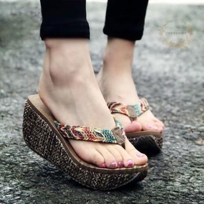 女性 夏 ウェッジサンダル ラフィグラス織り ビーチサンダル 7cmヒール カジュアル 快適 アウトドア 靴