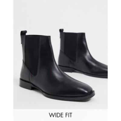 エイソス レディース ブーツ・レインブーツ シューズ ASOS DESIGN Wide Fit Alyssa leather chelsea boots in black Black