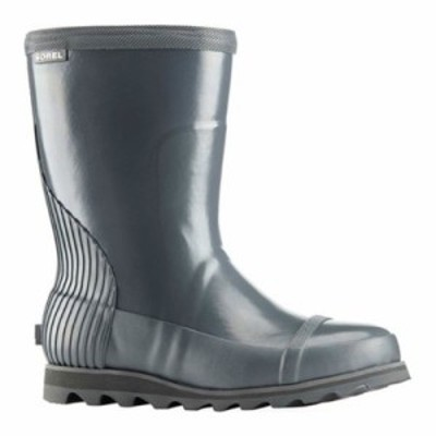 ソレル レインシューズ・長靴 Joan Rain Short Gloss Boot Graphite/Sea Salt Rubber