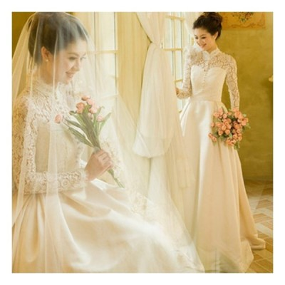 ウェディングドレス aラインドレス 長袖 安い ウエディングドレス 秋冬 二次会 花嫁 パーティードレス 披露宴 ブライダル 結婚式 ロングドレス wedding dress