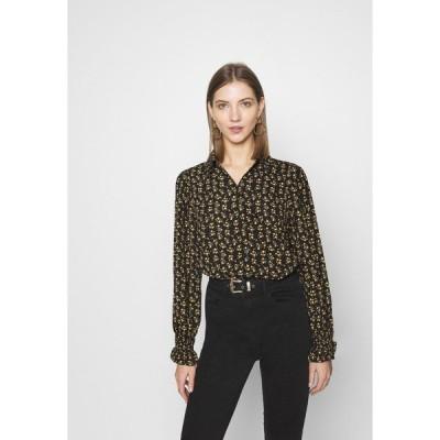 オンリー シャツ レディース トップス ONLJESS SMOCK TOP  - Button-down blouse - black/yellow