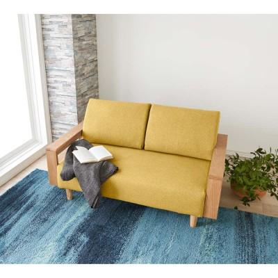 高さが調節できる北欧デザイン天然木カバーリングソファ 幅140cm(2人掛け) ブラウン ブルー