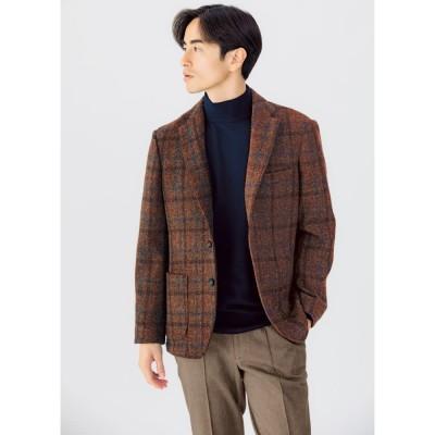 「Harris Tweed」 ウールジャケット ブラウンチェック L