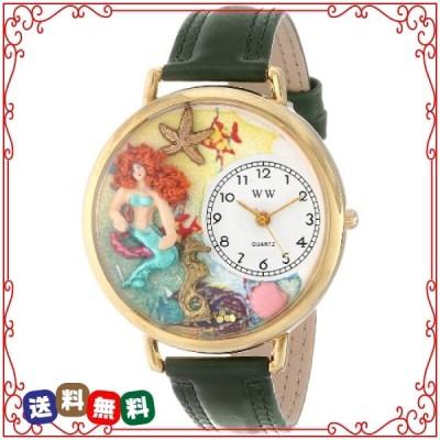 人魚 緑レザー ゴールドフレーム時計 #G1210014