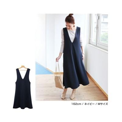 ポンチ Vネック フレア ワンピース (ワンピース)Dress
