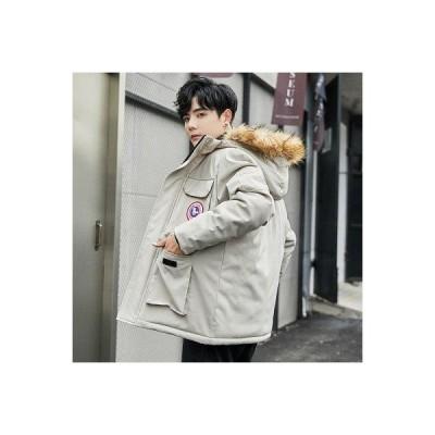 コート メンズ ジャケット 中綿ジャケット フード付き ファー付き ポケット 無地 コットン 冬服 防寒 防風 通学 通勤 カジュアル