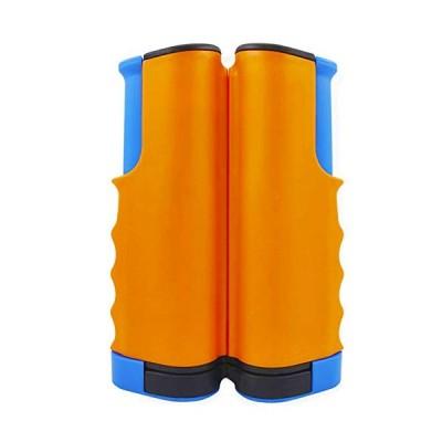 RIHE 卓球ネット ポータブル コンパクト 開閉式 ピンポンネット 卓球用品 家庭用 ロール 伸縮タイプ (オレンジ&ブルー)