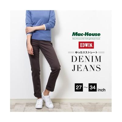 【マックハウス】 EDWIN MISS EDWIN INB ユッタリストレート ME424-159 レディース グレー 27インチ(58) MAC HOUSE