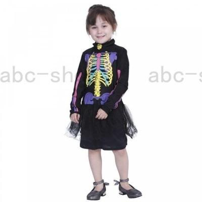 子供ハロウィン衣装子供  女の子 骨 ホラー  骸骨   ドクロ どくろ ゾンビ  キッズ ハロウィン衣装 幼稚園ハロウィン衣装 最新ハロウィン衣装