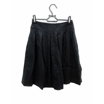 【中古】マヌーカ MANOUQUA スカート フレア ミモレ ロング 36 黒 ブラック /AKK17 レディース