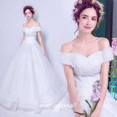 ウエディングドレス サッシュリボン 二次会 ウェディングドレス エンパイア プリンセス 花嫁 結婚式 ブライダル 披露宴 ロングドレス wedding dress