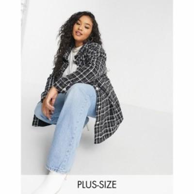 ネオンローズ Neon Rose Plus レディース ジャケット シャツジャケット oversized shacket with embellished buttons in tweed ブラック/