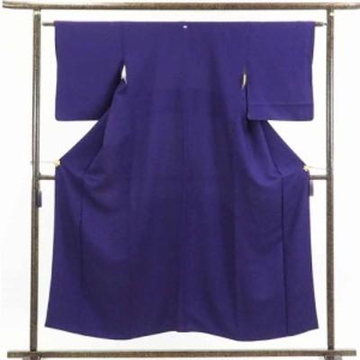 【中古】リサイクル着物 色無地 / 正絹濃い紫地一つ紋付袷色無地 / レディース【裄Sサイズ】(古着 リサイクル品 色無地 )