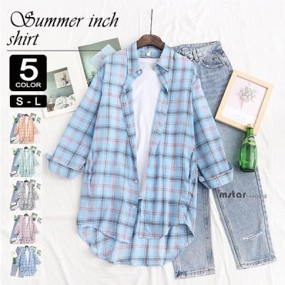 ネルシャツ チェックシャツ 夏用 レディース 長袖 チェック柄 テールカット 冷房よけ UVカット 日焼け防止 おしゃれ