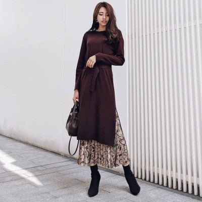 リエンダ rienda Pattern Pleats SET Knit OP (ブラウン)