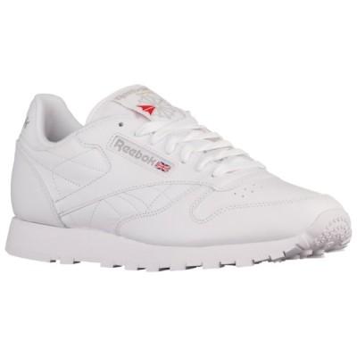 リーボック スニーカー メンズ シューズ Classic Leather White/White/Light Grey