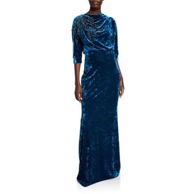 バッドグレイミッシカ レディース ワンピース トップス Beaded Velvet High-Neck Column Gown