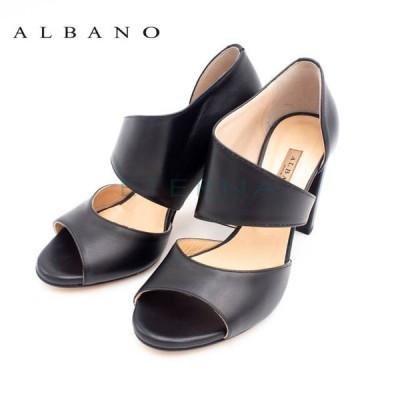 ALBANO アルバノ レディース サンダル レザー ストラップ チャンキーヒール 8.5cmヒール ラグジュアリー 大人 イタリア 黒 4058