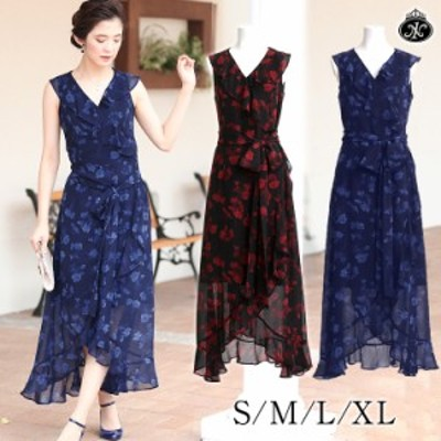 花柄ラップワンピース マキシ丈 ロング丈 ロングドレス ラップドレス 黒 ネイビー 大きいサイズ S M L XL