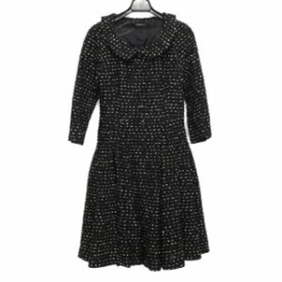 コトゥー COTOO サイズ38 M レディース - 黒×白 七分袖/ひざ丈【中古】20210429