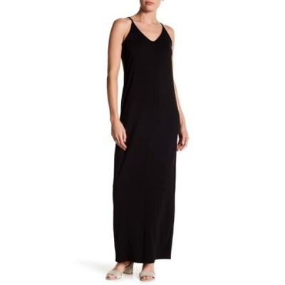 アボンド レディース ワンピース トップス Knit V-Neck Maxi Dress BLACK