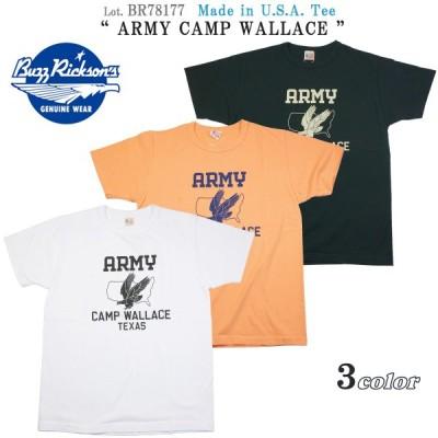 """バズリクソンズ BR78177 アメリカ製 半袖 Tシャツ """"ARMY CAMP WALLACE"""" ミリタリープリント BUZZ RICKSON'S Lot. BR78177"""