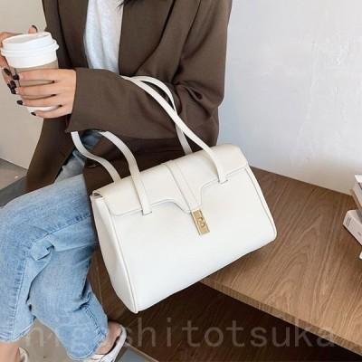 ショルダーバッグ ハンドバッグ レディース 大きめ 大容量 エレガント 通勤 レトロ 黒 グレー ブラウン 白 韓国ファッション