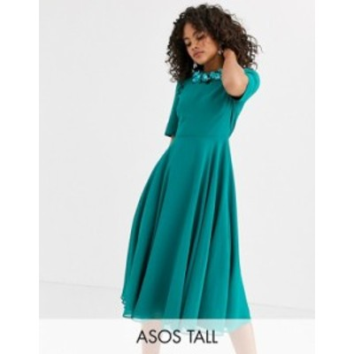 エイソス レディース ワンピース トップス ASOS DESIGN Tall crop top embellished neckline midi dress Teal