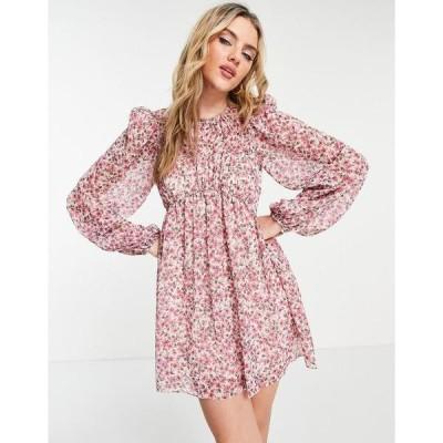 エバニュー レディース ワンピース トップス Ever New pintuck blouson sleeve ruched mini dress in blush ditsy floral Blush floral