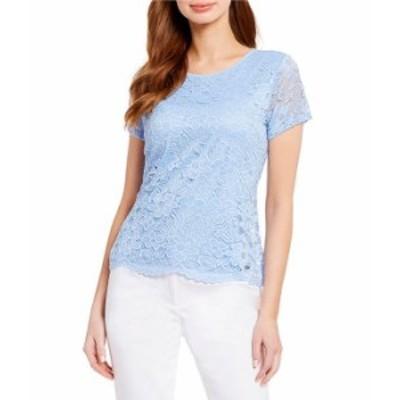 カルバンクライン レディース Tシャツ トップス Short Illusion Lace Sleeve Scalloped Hem Knit Top Baby Blue