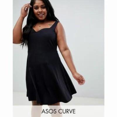 エイソス ワンピース ASOS DESIGN Curve mini skater dress with sweetheart neckline Black