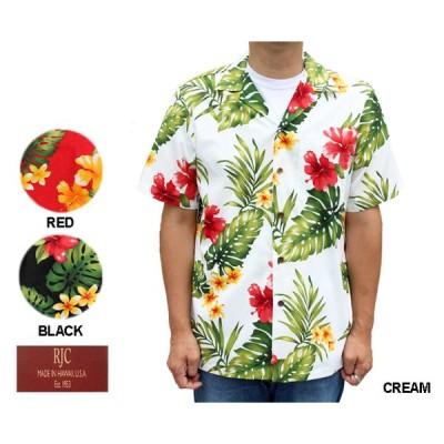 RJC ロバート・J・クランシー アロハシャツ ハワイ製  ハイビスカス ハワイ製 クリーム 赤 レッド 黒 ブラック